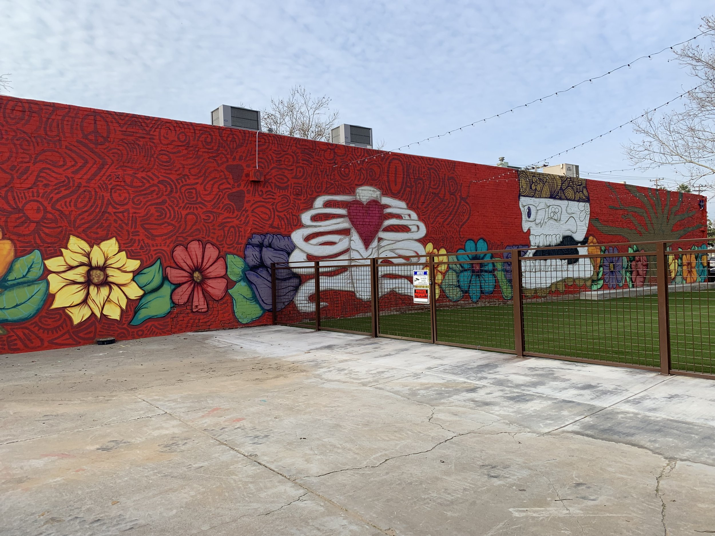 Home Is Where the Heart Is (Another View), 15' 150' Acrylic and Spray Paint on Brick Wall, Wide Open Walls Mural Festival, Oak Park, Sacramento, 2018.jpg