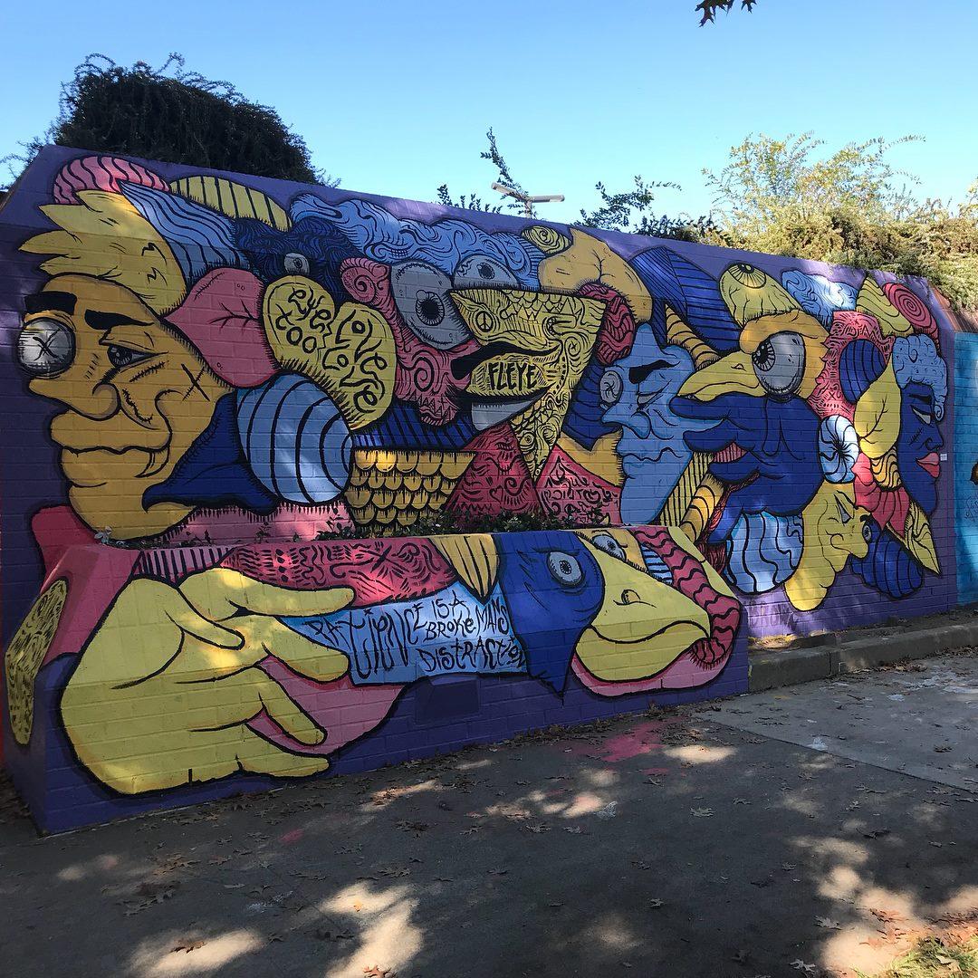 Patience is a Broke Man's Distraction, 9' x 22' Acrylic on Brick Wall, Wide Open Walls Mural Jam, Sacramento Bee Parking Garage, 2017.jpg