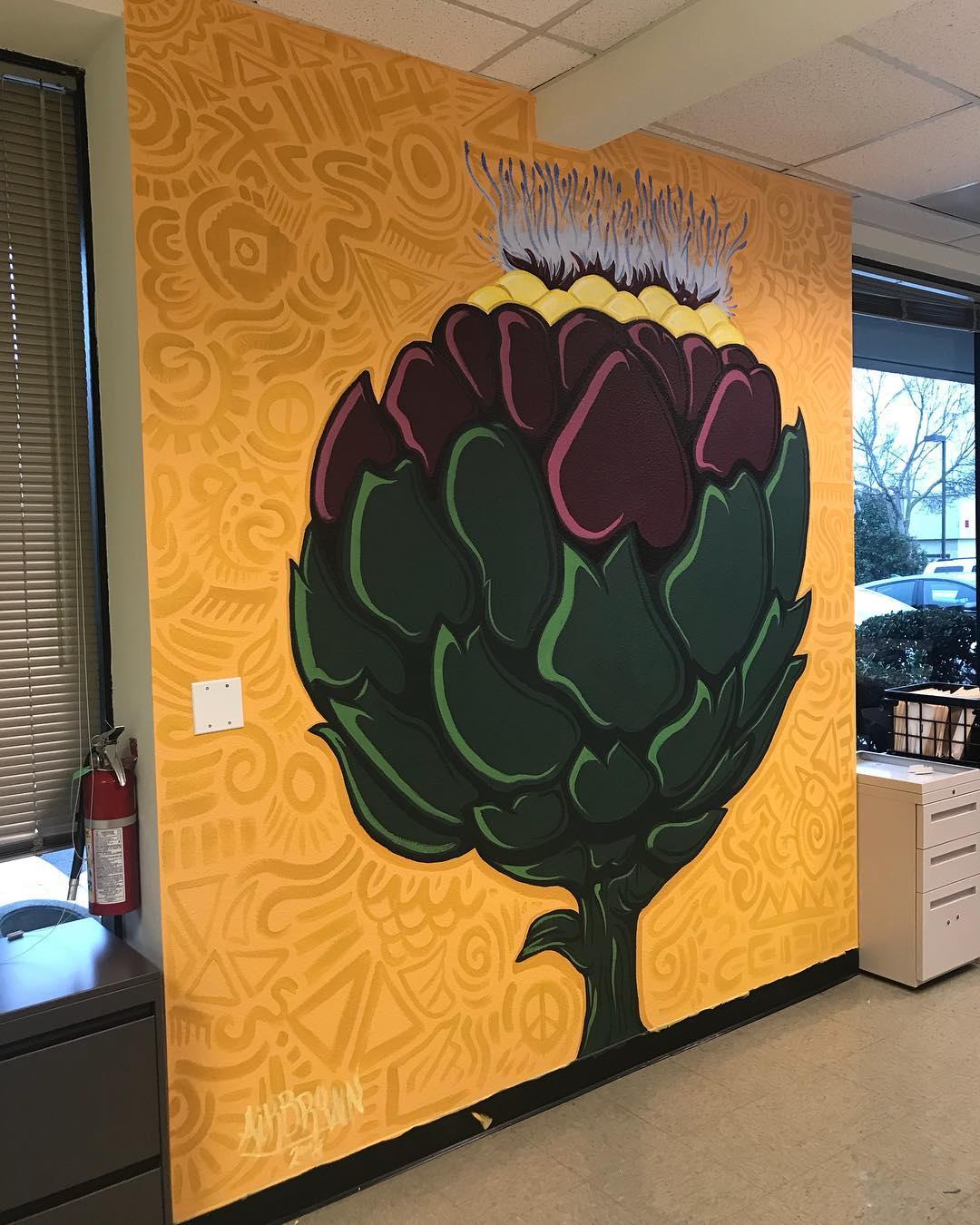 The Artichoke Flower, 8.25' x 8.75' Acrylics on Orange Peel Textured Wall, 2018.jpg