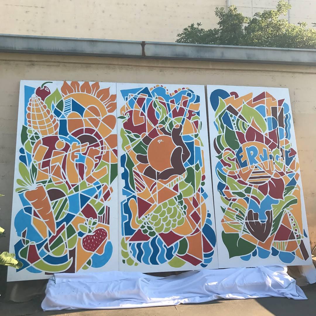 The Garden Project, 5 - 4' x 8' Acrylic on Wood Panels, Sacramento Charter High School, 2017.jpg