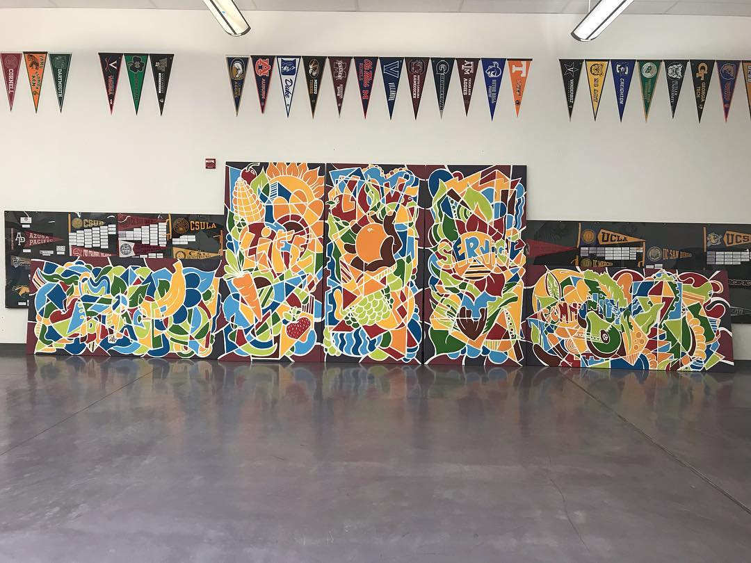 The Sac High Garden Mural, 5 - 4' x 8' Acrylic on Wood Panels, Sacramento Charter High School, 2017 .jpg
