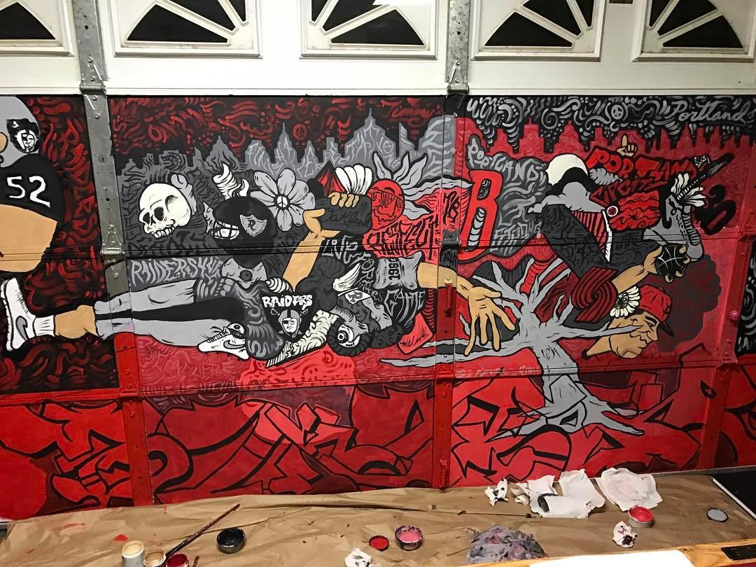 Trail Blazin' Raider, 5' x 20' Acrylic Painting on Garage Door, 2017, Additional Picture.jpg