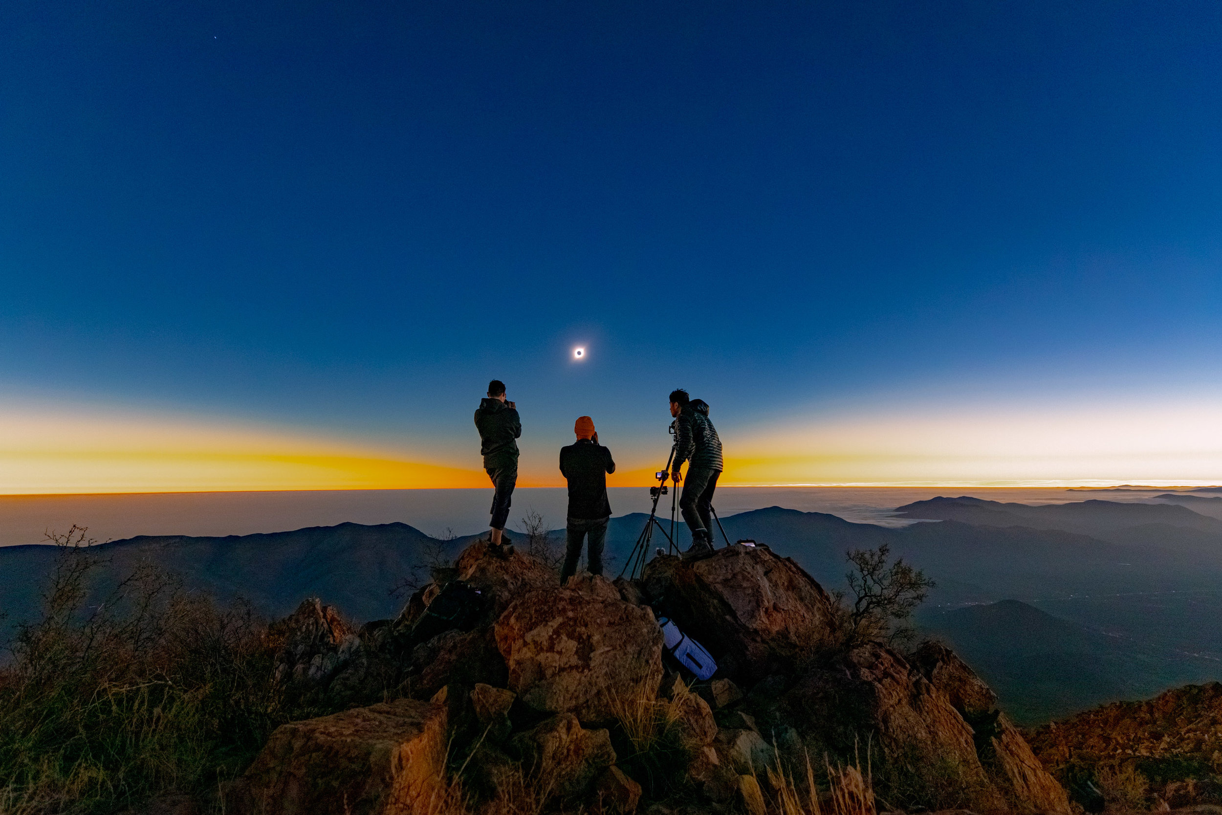 Observing Totality.  Photo: Evan B. Dudley
