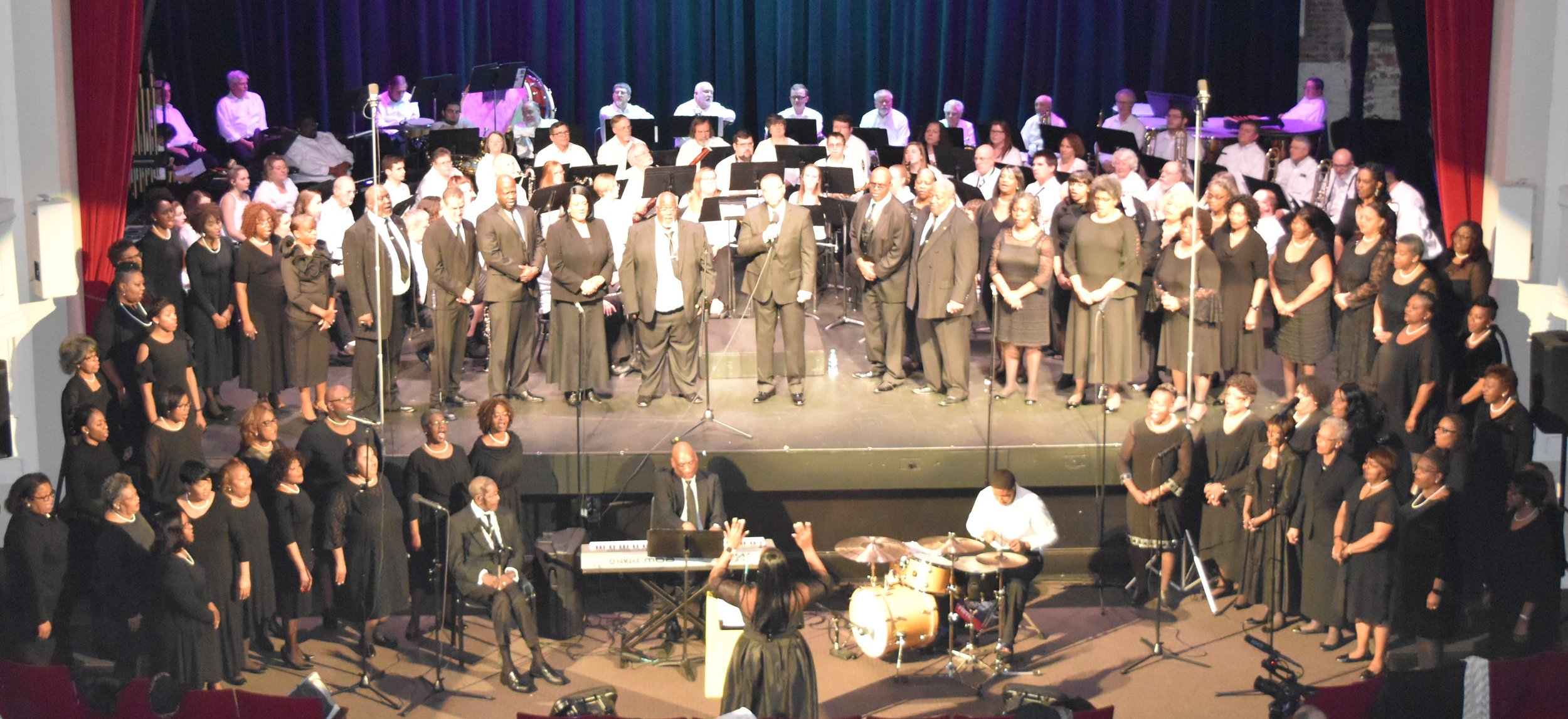 """02/20/20 7:30pm Rome City Auditorium    """"A Wing and a Prayer II""""   NW GA Winds with Rome's Own 60-voice Gospel Choir perform songs of inspiration and unity.   Free Admission"""
