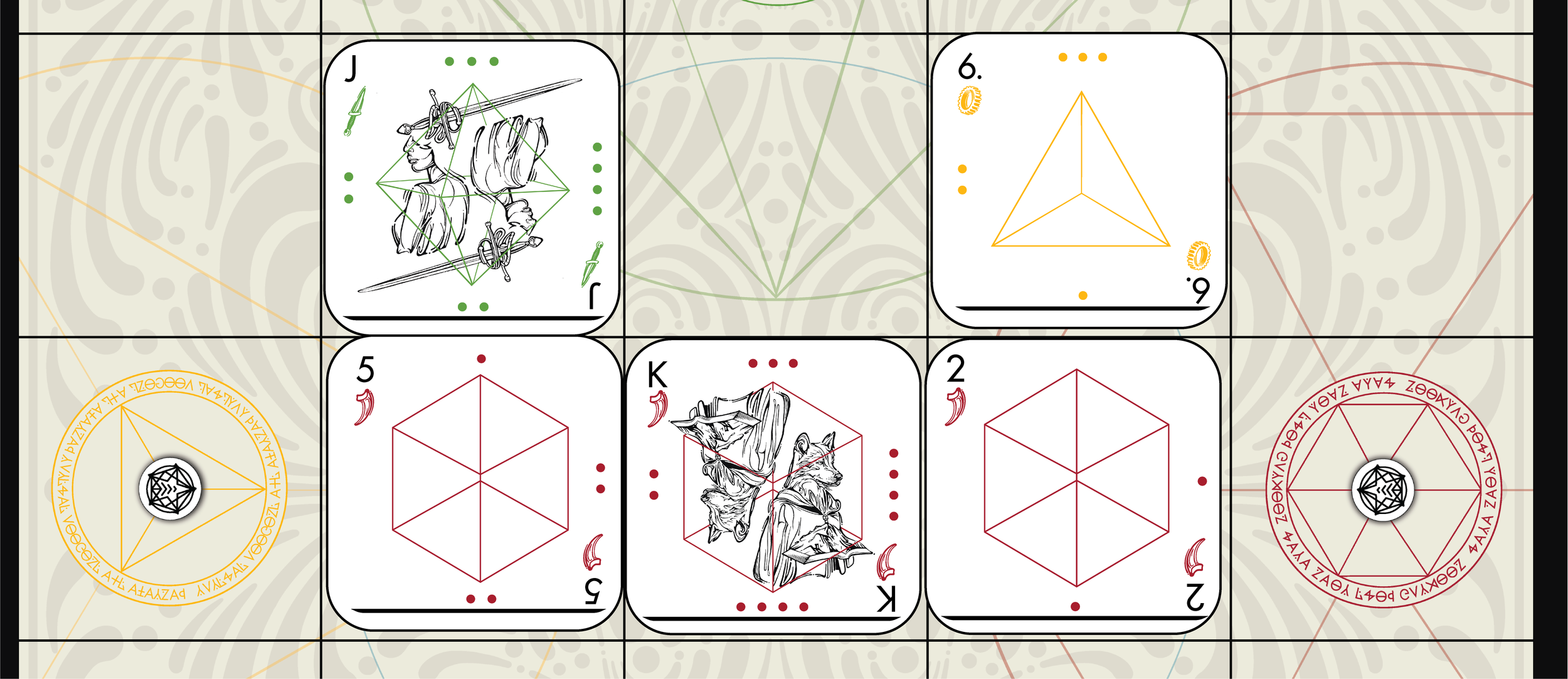 Here, the South player has re-summoned their selected cards in a valid chain; the 6 of Gears and the Jack of Blades would not have been able to use the King of Claws as a summoning base due to their lower face value and different suits.
