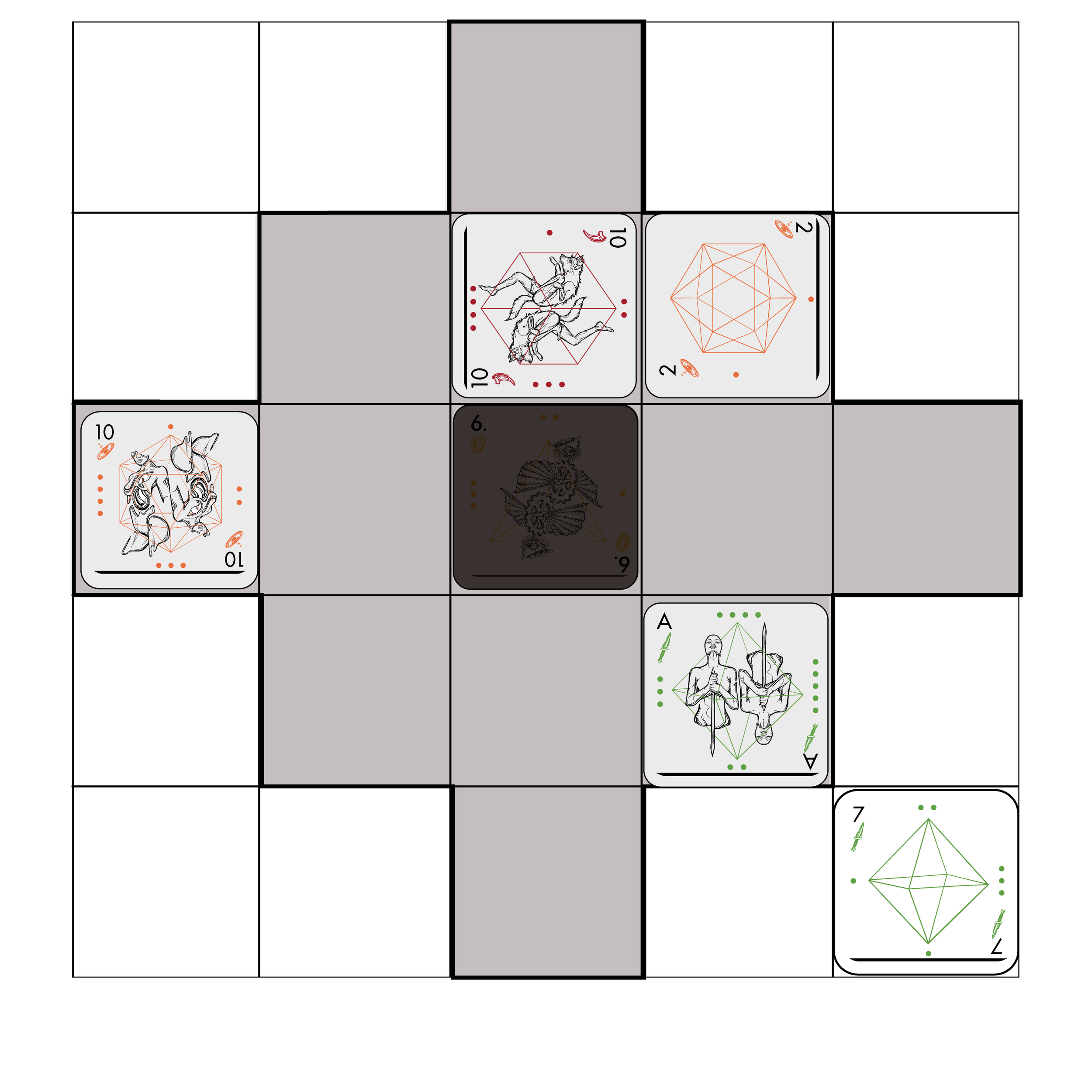 All cards within X. Arcanum's area of effect are discarded from play.