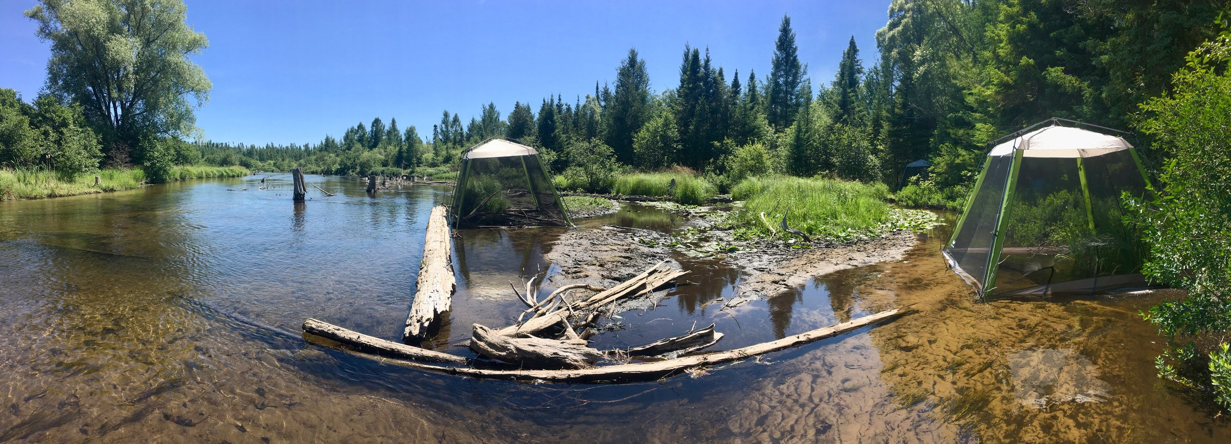 experimental tents in the Au Sable River, MI