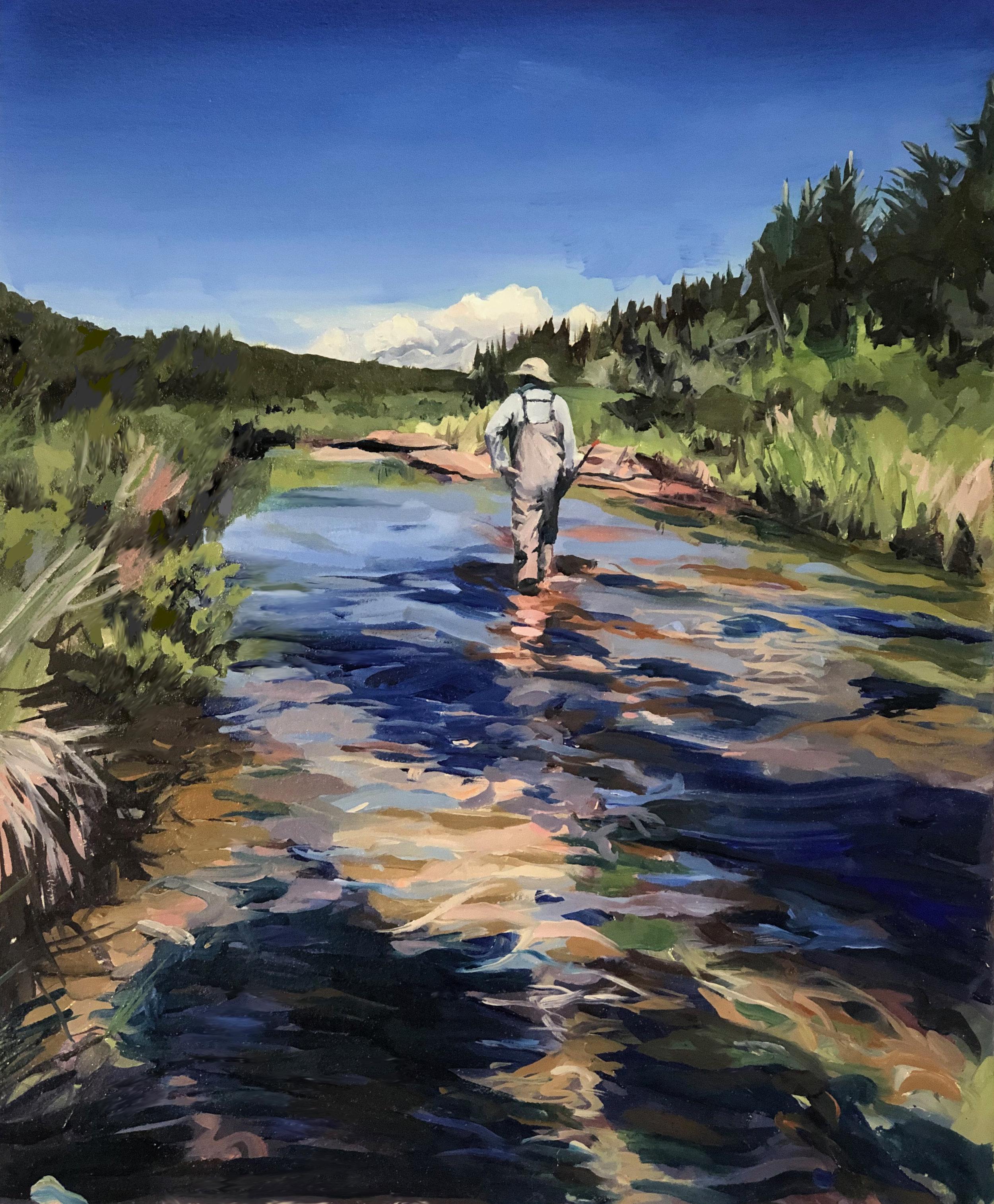 Oil painting of Jackie in Bertrand Creek, Ontario, 2019 (by Idelle)