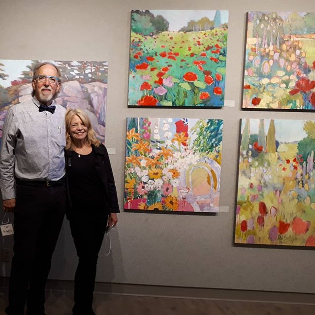 Fabulous opening at the L.E. Shore library...thanks to all for all the support.... #townofbluemountains #thornburyontario #tremontstudios #gardenpaintings