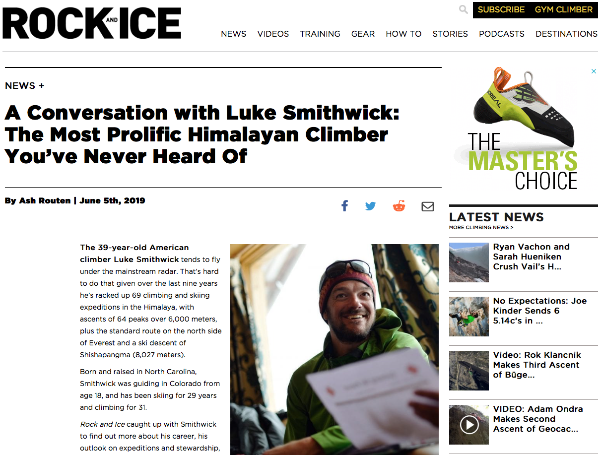 An interview with the most active American climber in the Himalayas - Rock and Ice Magazine - June 2019