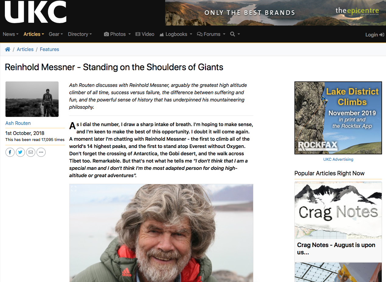 An interview with one of the greatest mountaineers in history - UK Climbing - October 2018
