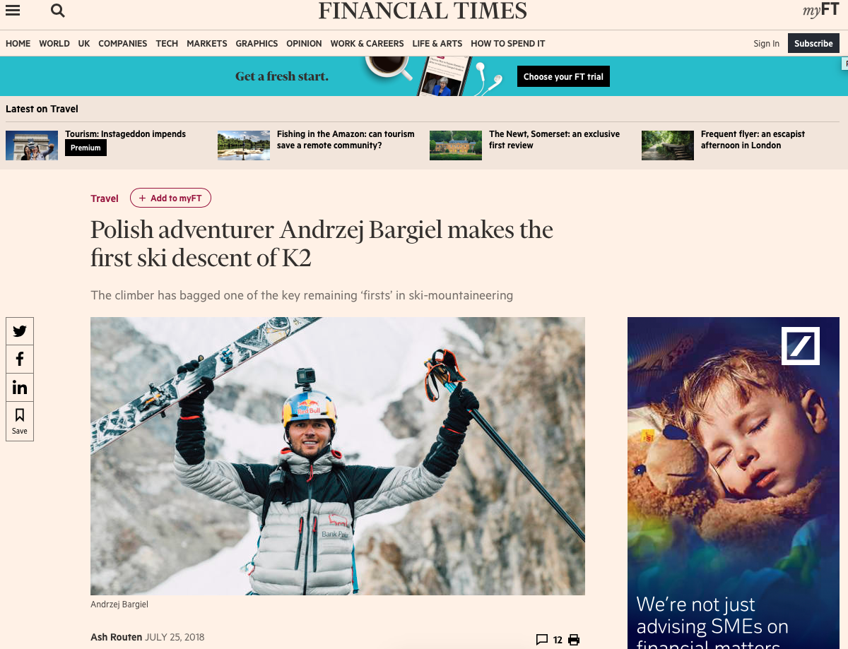 A breaking report on the historic first ski descent of the world's second highest mountain, K2 - The Financial Times - July 2018