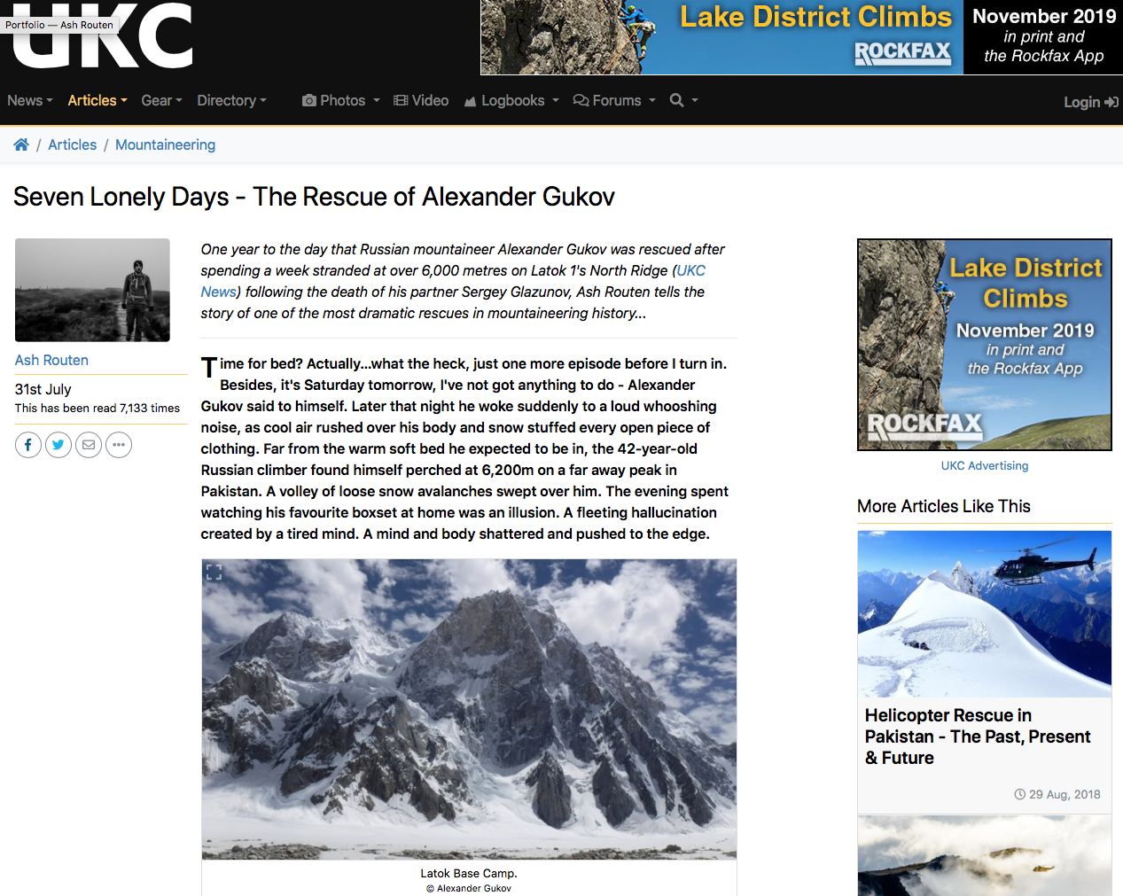An epic tale of one of the most dramatic mountain rescues in recent times - UK Climbing - July 2019