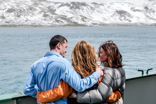 Max, Joanna and Alicia Worsley visited South Georgia Island in 2017 to pay their respects to their lost father and husband. Photo: Roger Pimenta