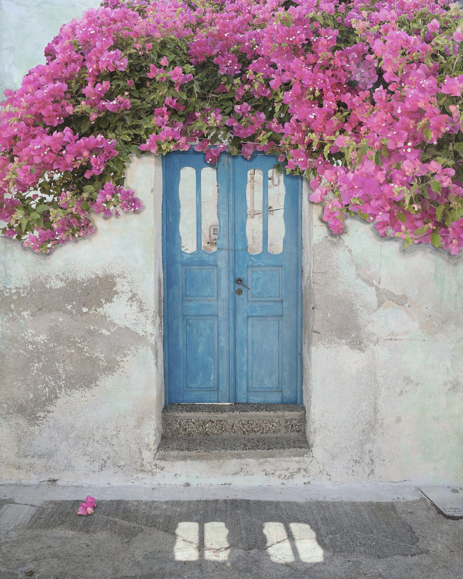Blue Doors and Bougainvillea, Santorini
