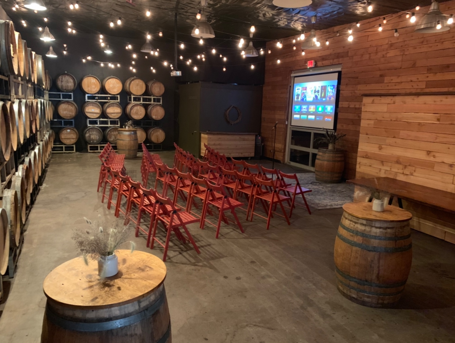 BARREL ROOM - Maximum 60 people standing / 40 people seated$200 / hour, including set-up and clean-upAlcohol minimum is $25018% Gratuity