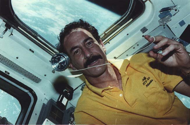 Jeffrey Hoffman with an SB-2 aboard Space Shuttle Atlantis on Mission STS-46, 1992.