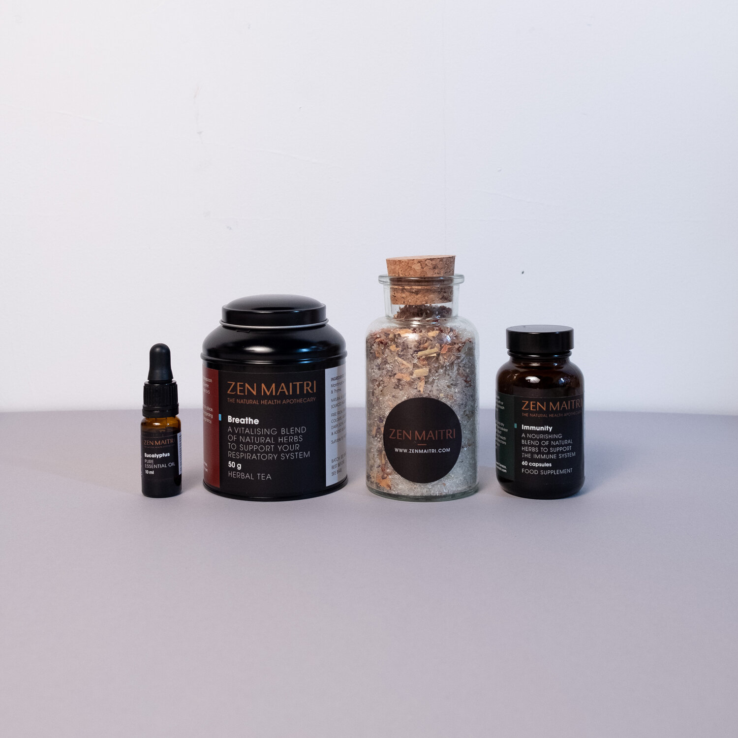 Immunity Care Collection | Eucalyptus Essential Oil, Herbal Tea, Bath Salts and Natural Capsules