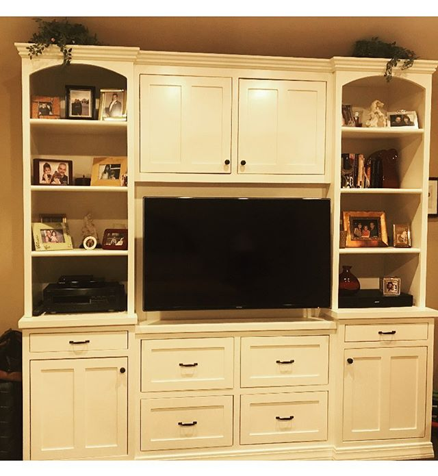 Another satisfied customer! Not only is this a beautiful entertainment center, but also functional for storage & decorations! Loving the shelves, cabinets & drawers for optimal storage! 👍🏻 #designinspo #entertainmentcenters #homeimprovements