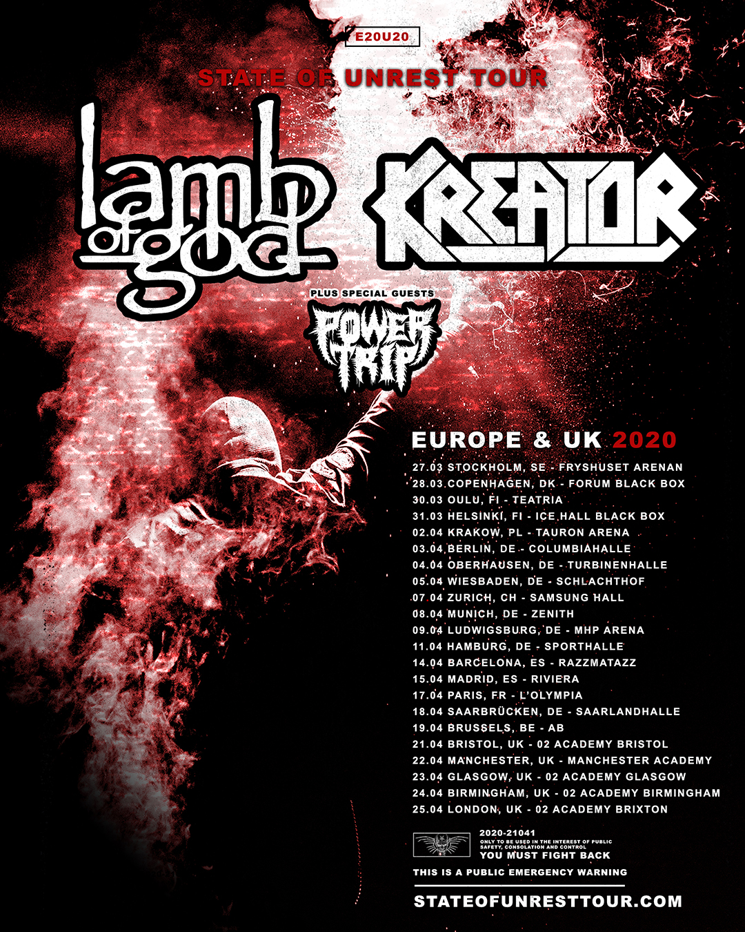 LAMB OF GOD & KREATOR Announce European Co-Headlining Tour for 2020 - Two giants of extreme metal have teamed up to lay waste to European shores in 2020. Grammy nominated Richmond, VA metallers LAMB OF GOD and German thrash pioneers KREATORwill bring a
