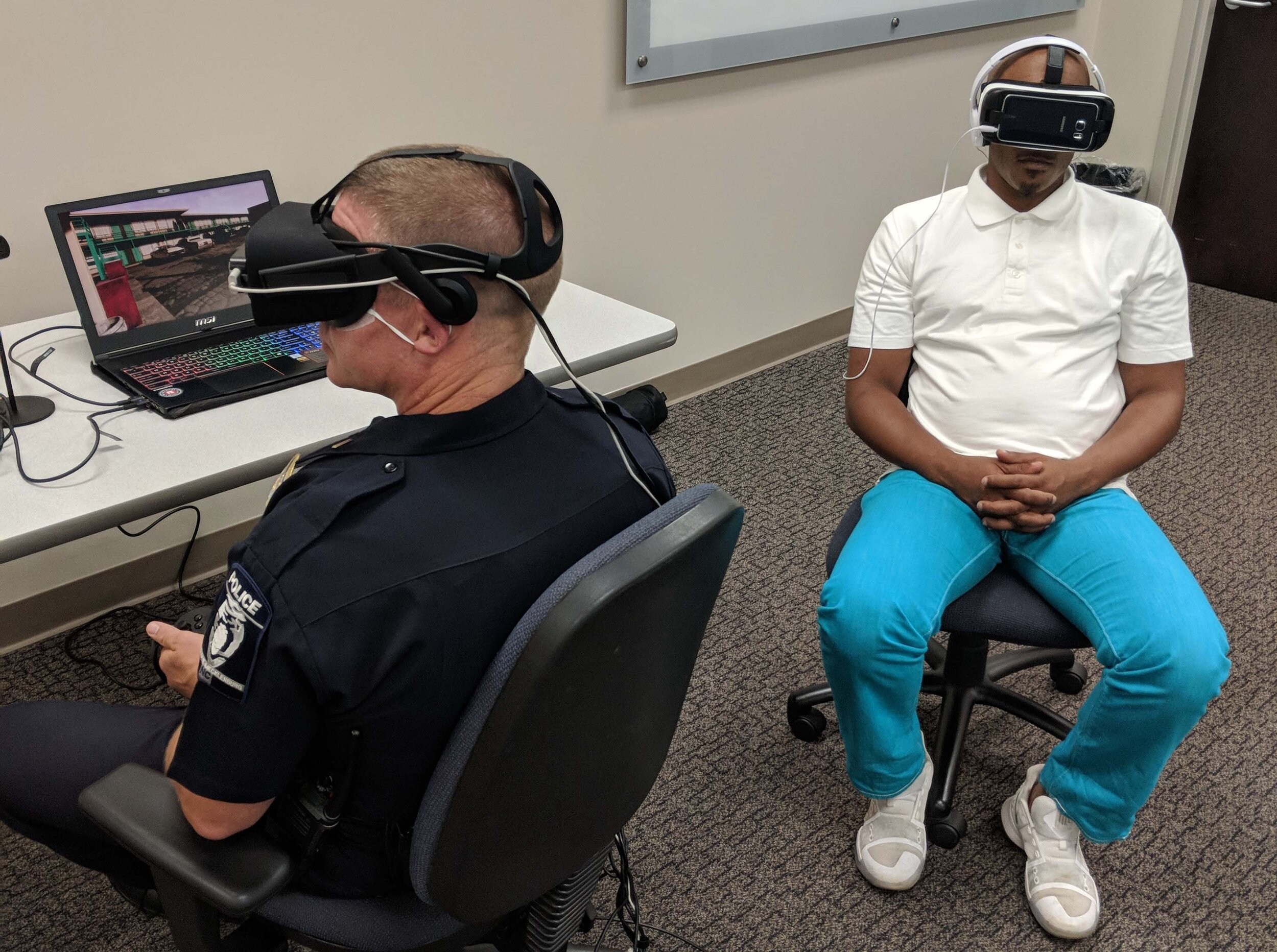 A CMPD lieutenant trades places with a citizen through virtual reality in Charlotte, NC.