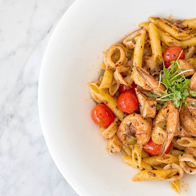 Fruto del mar ( seafood pasta) our delicious weekend special! If you like seafood you will LOVE this plate! Promise!