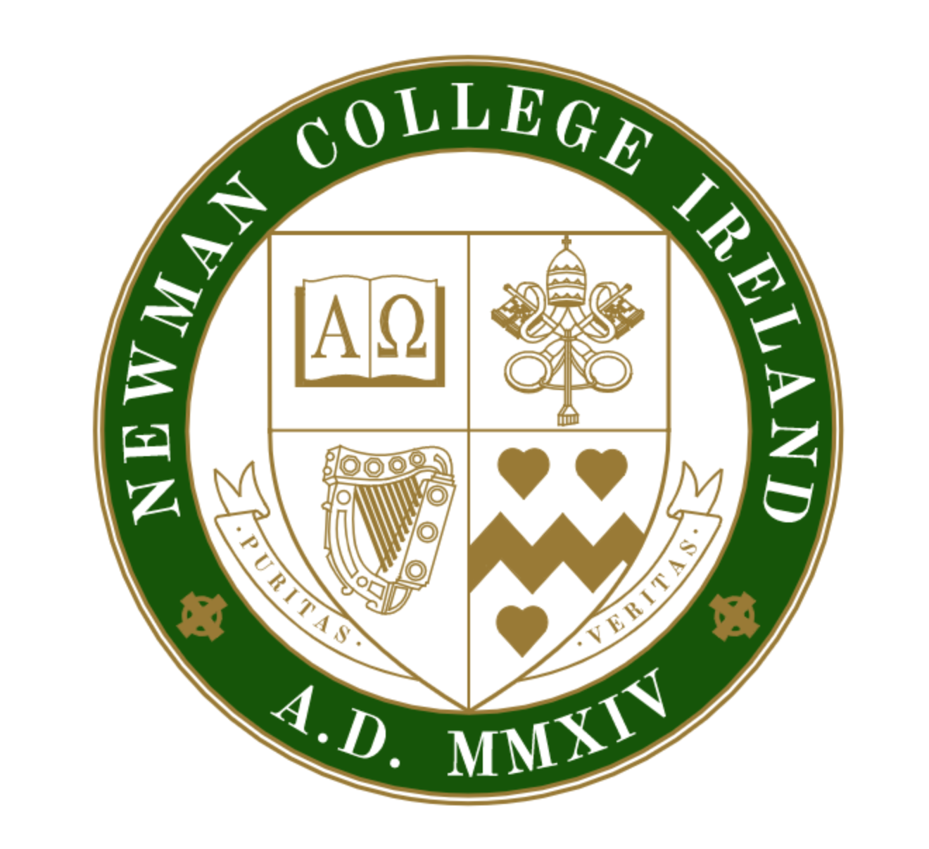 "- The four quadrants of the shield represent key tenets of Newman College.The seal of Newman College Ireland consists of a shield divided into four quadrants and the motto, Puritas et veritas, both encircled by a green band inscripted with ""Newman College Ireland"" and the date of its founding, 2014."
