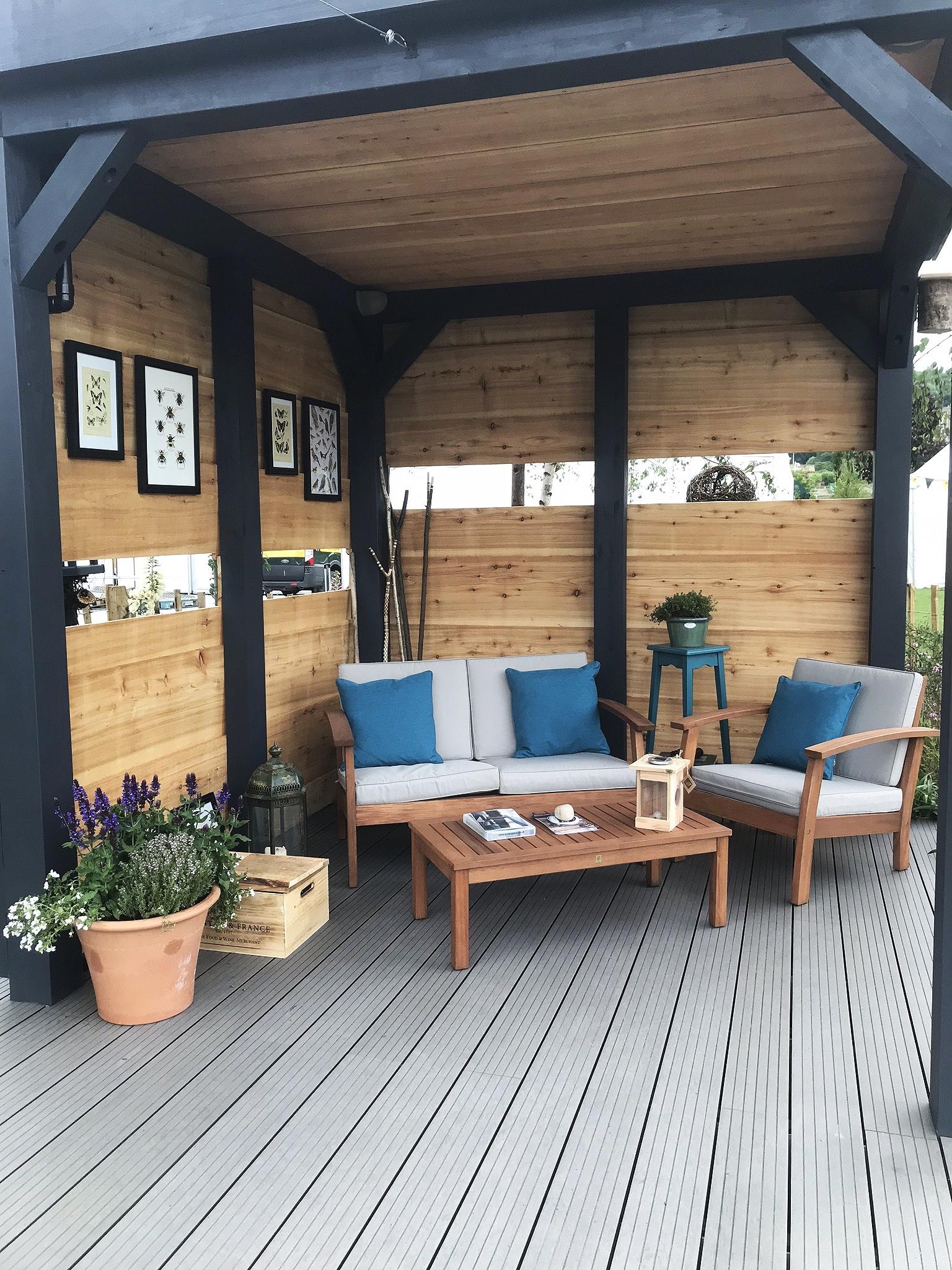 Bird hide inspired garden shelter