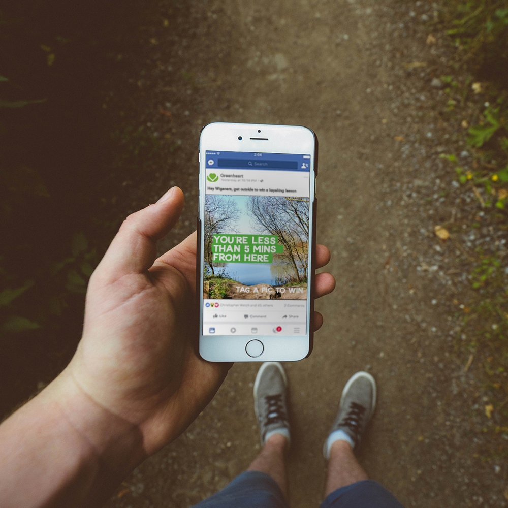 Location targeted digital advertising campaign incentivising locals to explore and tag a photo.