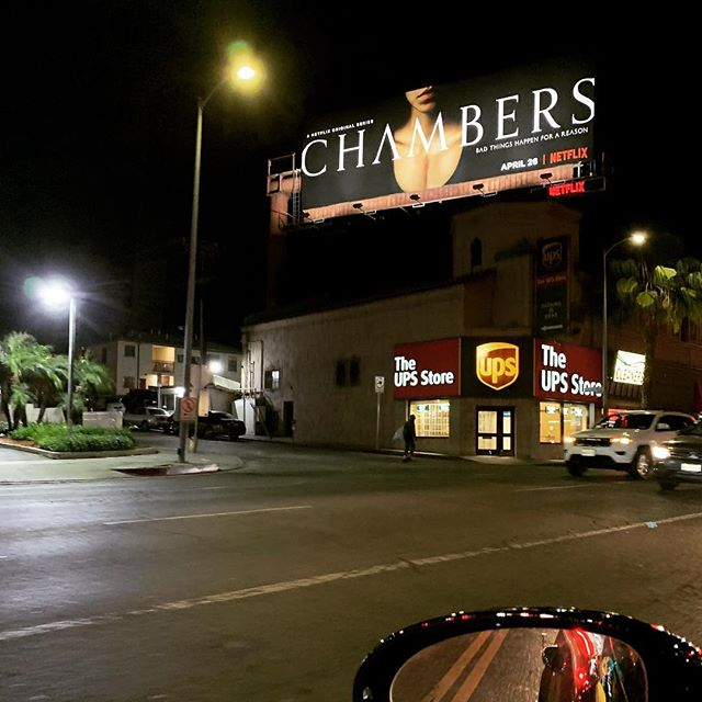 Spotted on Sunset Blvd. Glad to have our music part of the trailer campaigns for #chambersnetflix.  #trailermusic #netflix #umathurman #horror #sounddesigner #darkness