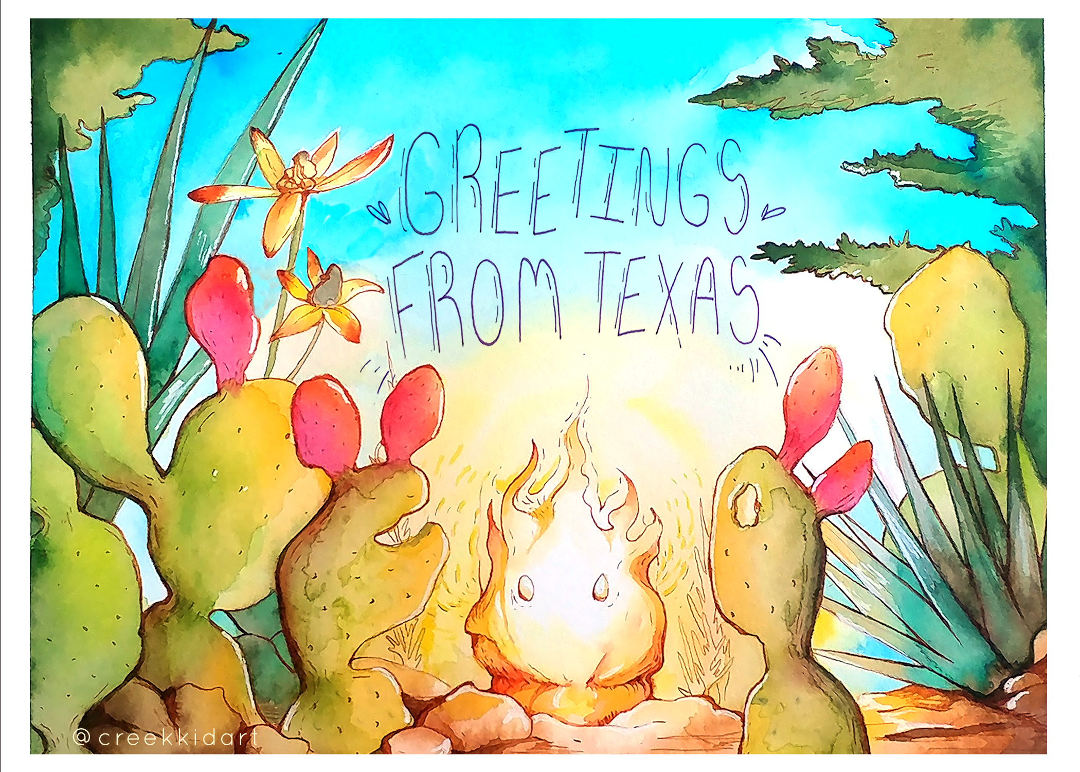 Greetings From Texas - Watercolor