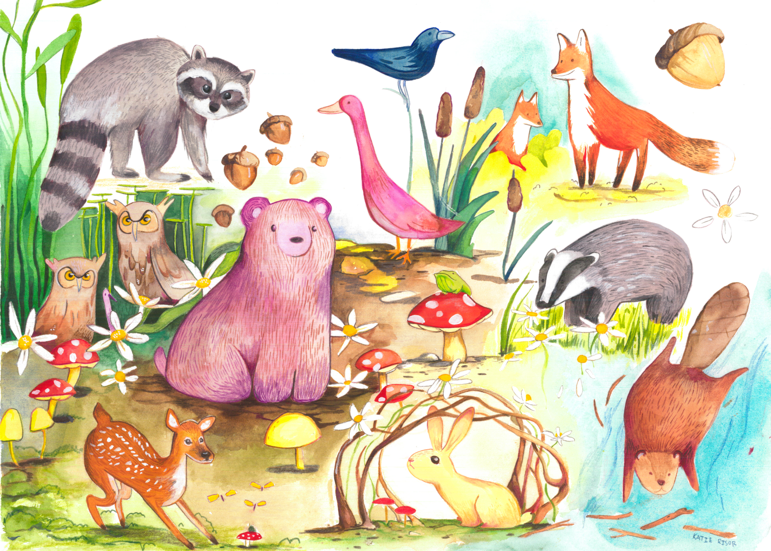 Forest Critters - Gouache