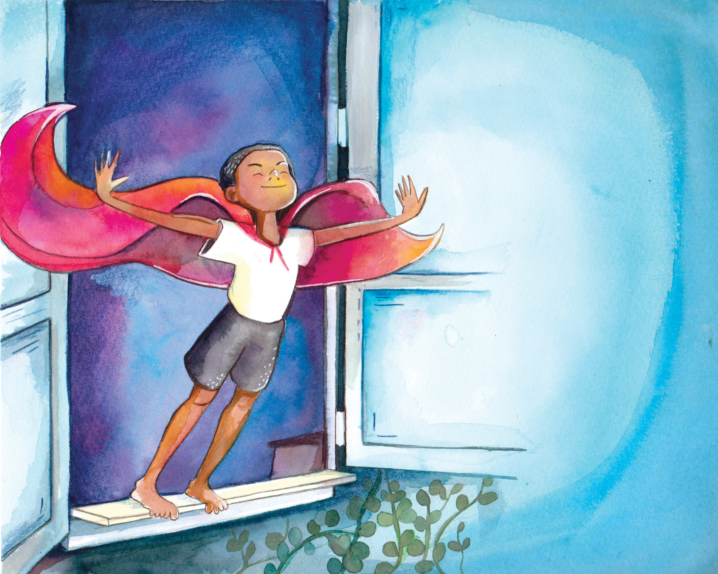 Watercolor illustration from  Mason and the Magic Cape