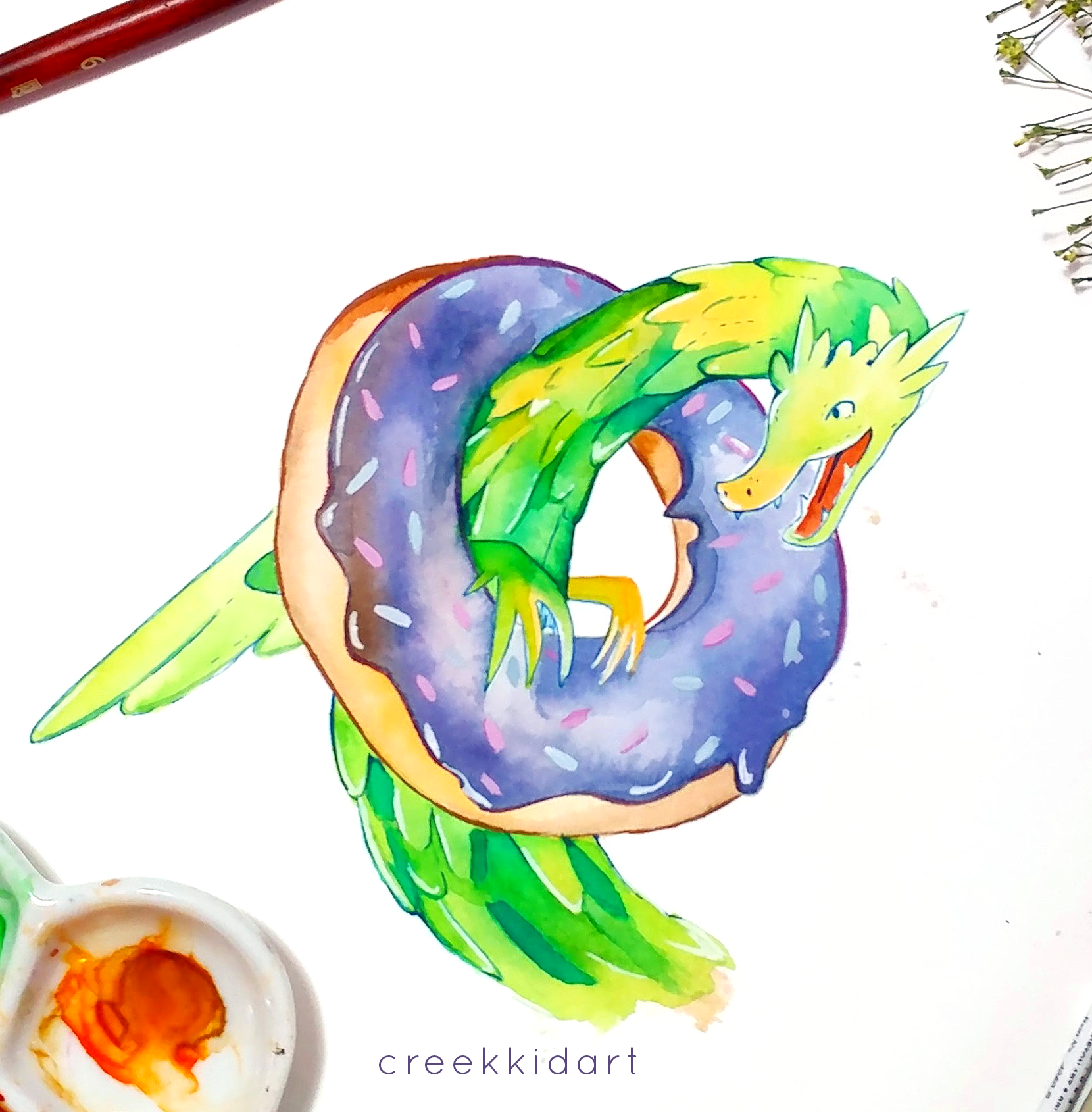Watercolor spot from  When Mommy Caught a Dragon