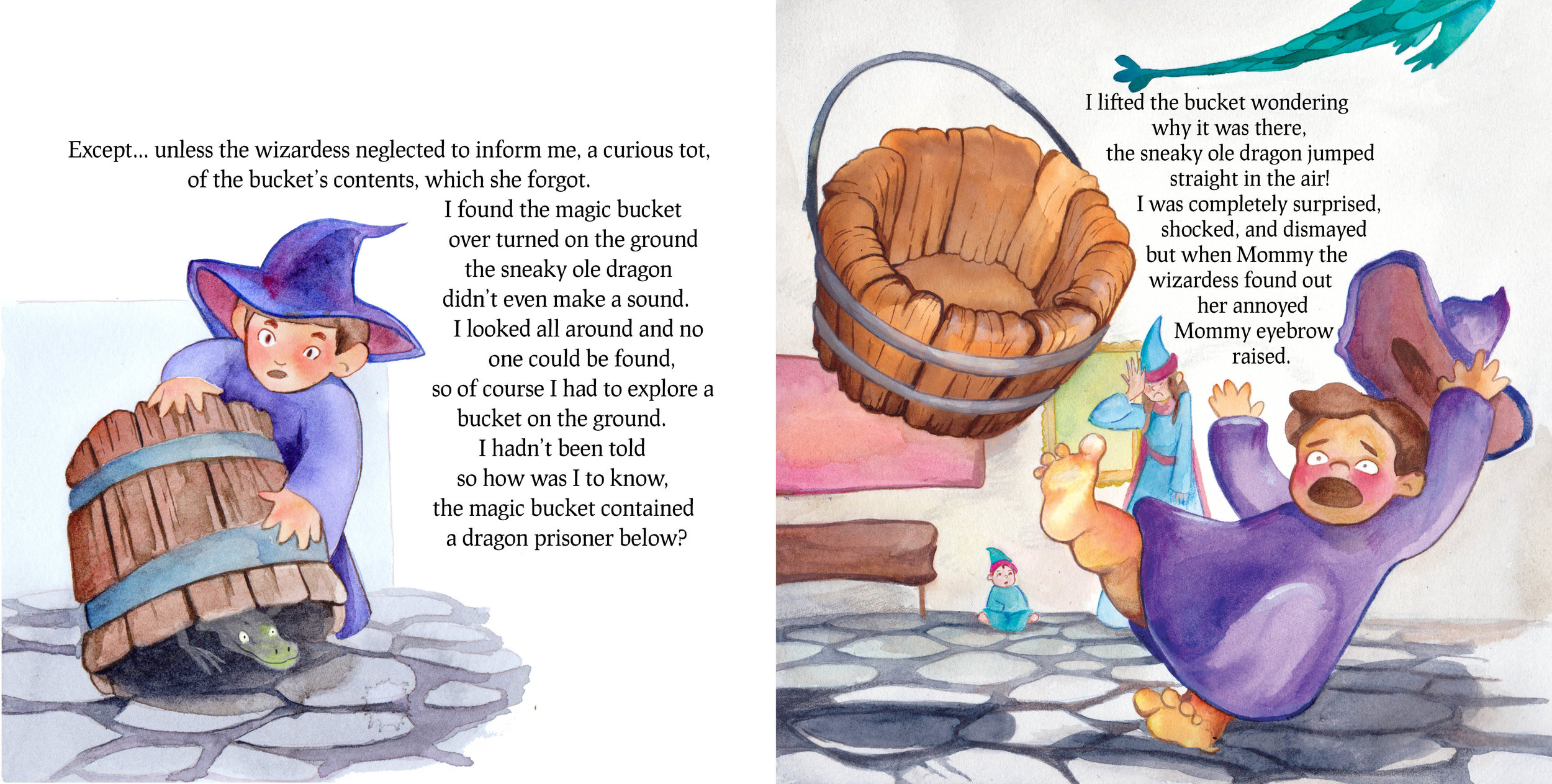 Spread from  When Mommy Caught a Dragon