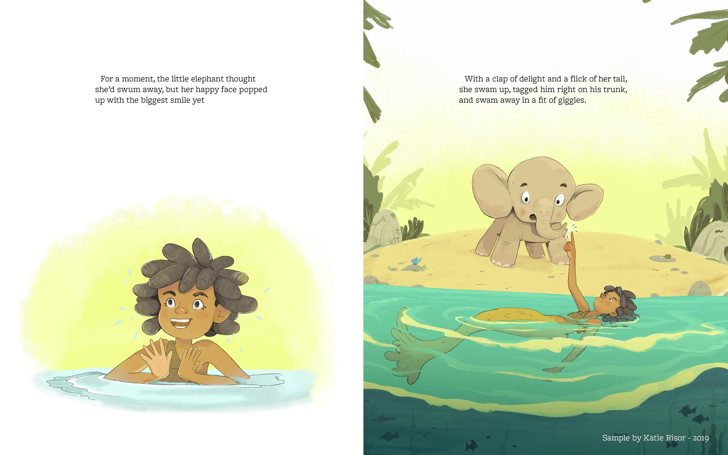 A sample spread for an unpublished book I wrote called  Splash!