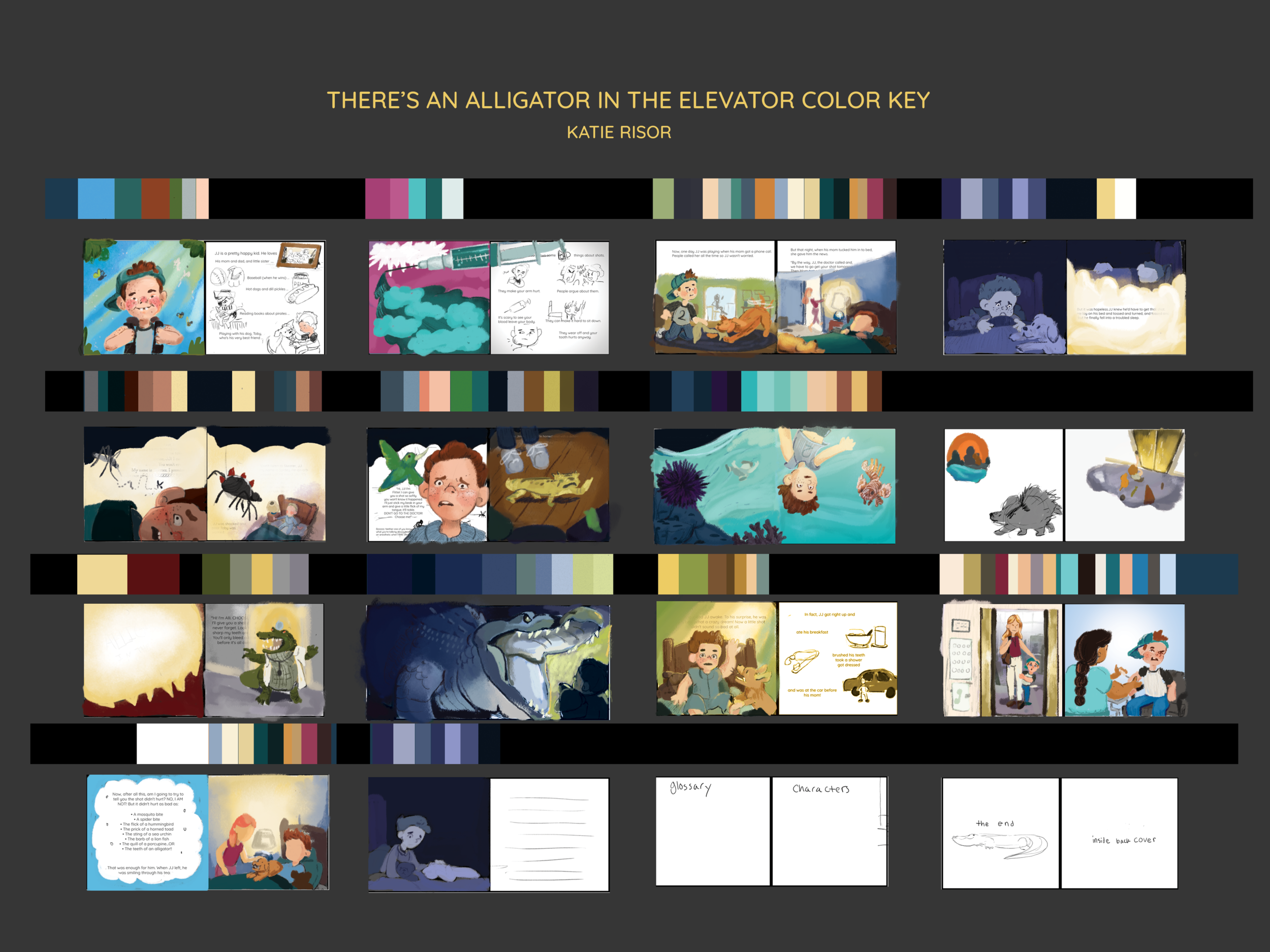 Color key for all of  There's an Alligator in the Elevator!