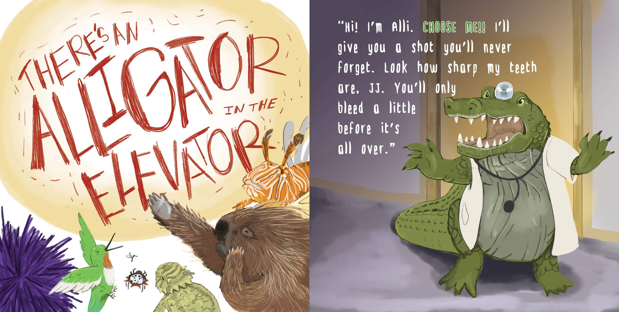 A spread from  There's an Alligator in the Elevator!  Digital illustration and layout design by me