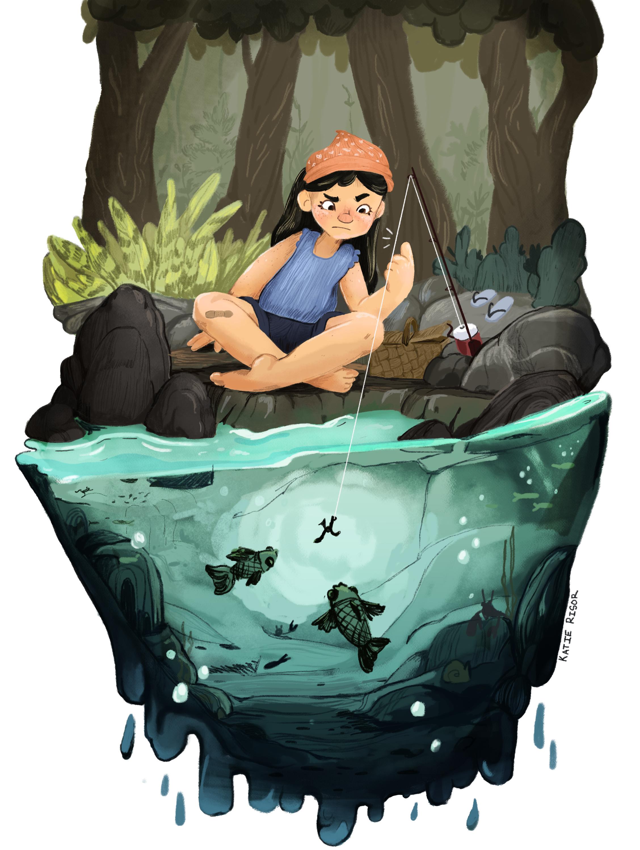 First Time Fishing -Digital illustration