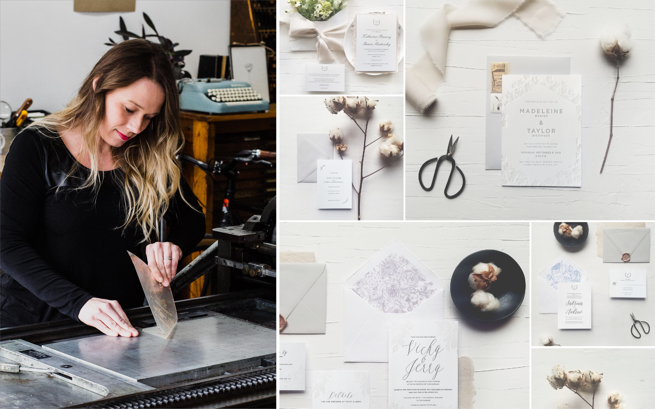 Working in my letterpress studio / Some custom wedding stationery designs