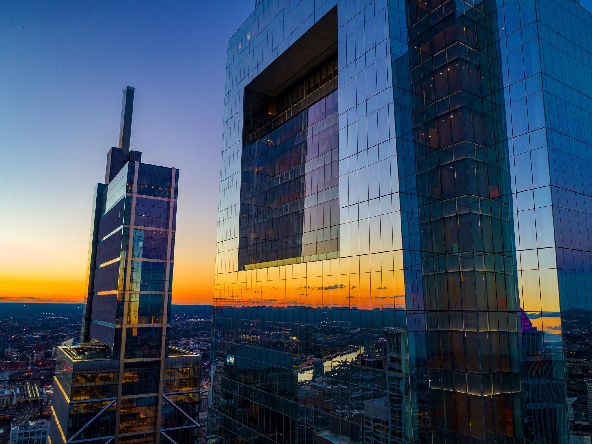 Chris Dantonio_Drone Photo Close Up of Comcast Buildings with Sun Reflection.JPG