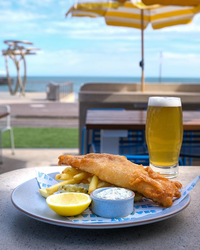 Fish & Chips + Beer or Wine, only $20 every Thursday at SeaSalt 🐟 #seasaltbysea #fishandchips #henleybeach