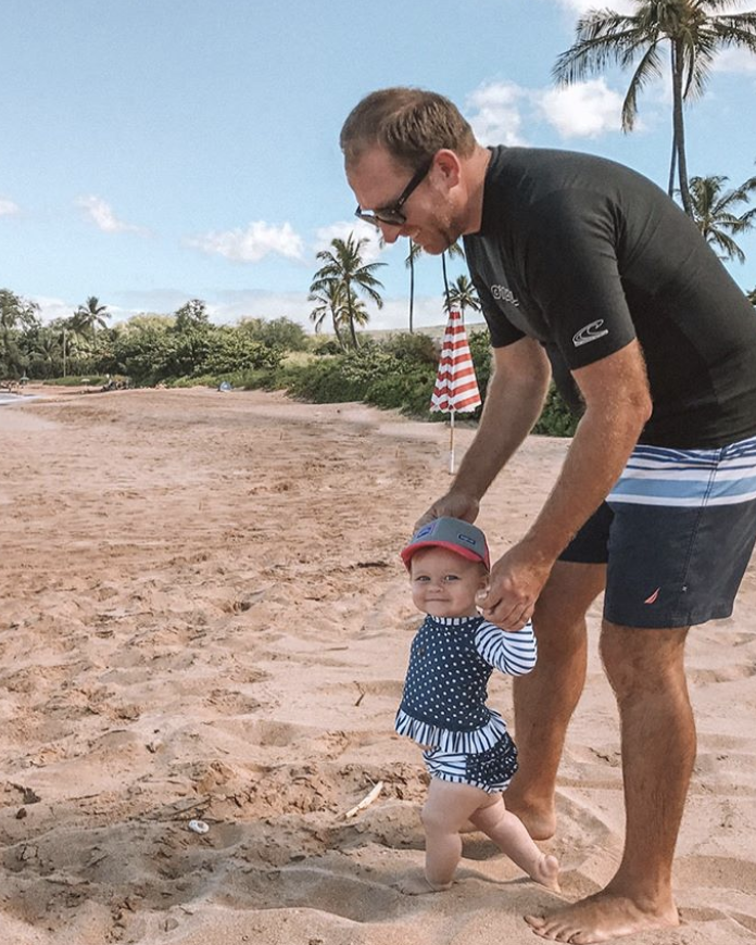 daddy daughter on beach hawaii