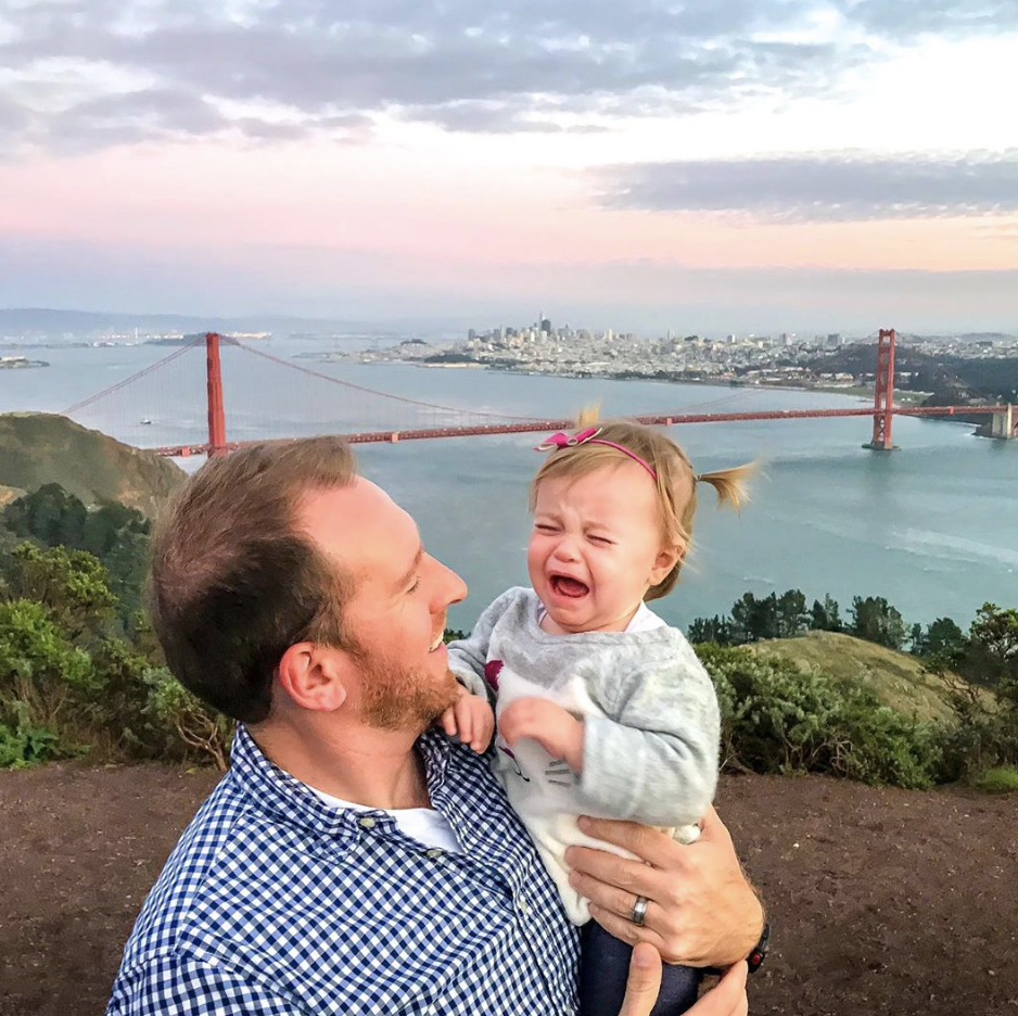 daddy daughter crying baby golden gate bridge san francisco california