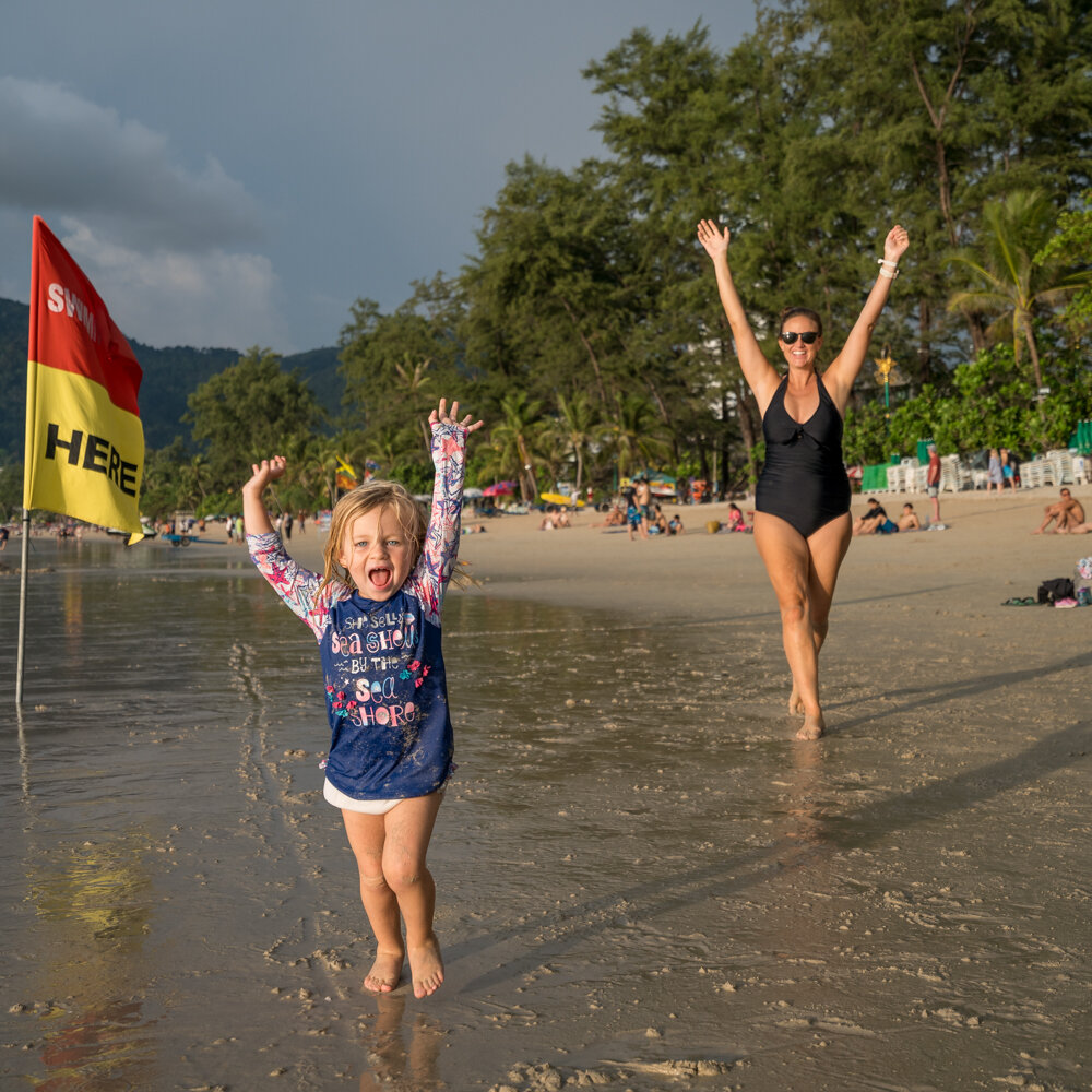 Patong Beach with kids… just a bit different than our pre-kids days!