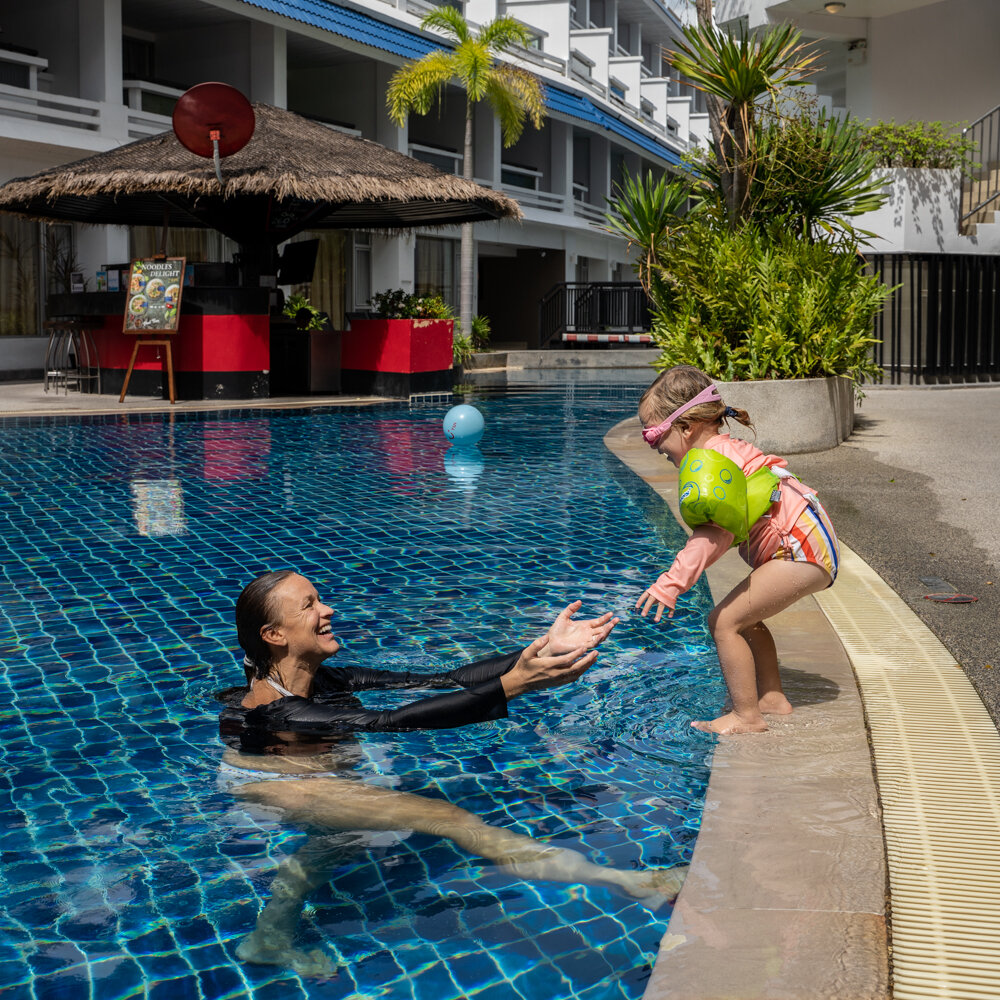 Diving in to the pool at Swissotel Patong