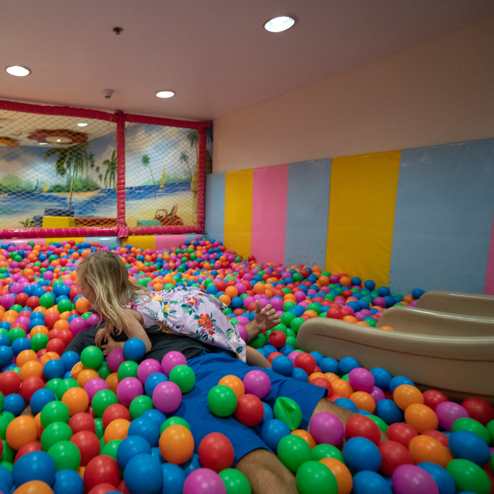 Loving the ball pit at the Kids Club, but where is Ben?!