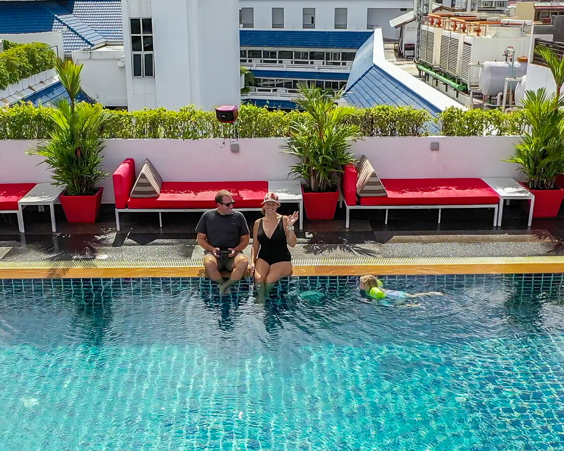 Enjoying the roof-top pool at Swissotel Patong