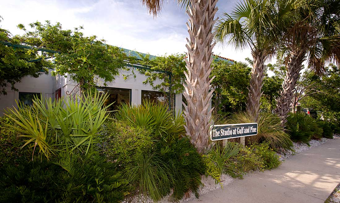 Anna Maria Island's Cultural Art Facility & Elegant Event Venue. - The Studio at Gulf and Pine offers an eclectic array of exhibitions, instructional classes, and cooking classes. The Studio serves as an elegant social venue with nearly 4,000 square feet of indoor space.The Studio at Gulf and Pine was founded by the former First Lady of Florida, Rhea Chiles. As first lady, Mrs. Chiles championed many causes, including upgrading the technological resources of the governor's office, making the first inventory of the furnishings in the governor's mansion, and most notably, the anti-tobacco initiative aimed at curbing smoking among young people. Rhea also supported the arts in Lakeland, where she was a founder of the Polk County Museum of Art.Rhea spent her retirement years on Anna Maria Island, concentrating on the community and cultural arts. Today the Studio serves as an educational center, hosting everything from art shows, events, local fund raisers, art classes, and exhibits. The studio welcomes artists, poets, musicians, and writers to exhibit their talents and exchange ideas.