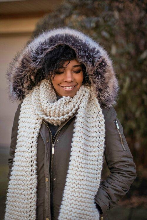 OPEDCY Winter Warme Gestrickte Ringschals///Linie Patchwork Knit Cowl Neck Cotton Schalld/ämpfer